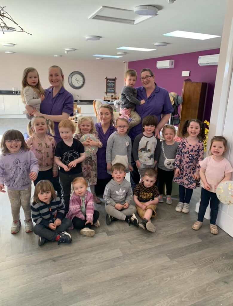 Children and staff at wilmere lane nursery in their new pre-school